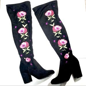Carlos Santana Floral Embroidery Over Knee Boots